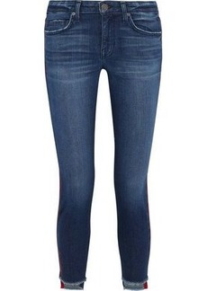 Joie Woman Bon Voyage Cropped Satin-trimmed Mid-rise Skinny Jeans Mid Denim