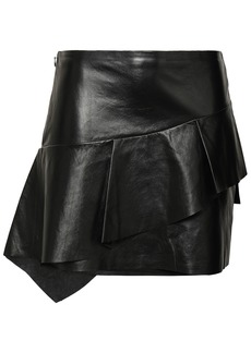 Joie Woman Botan Ruffled Leather Mini Skirt Black
