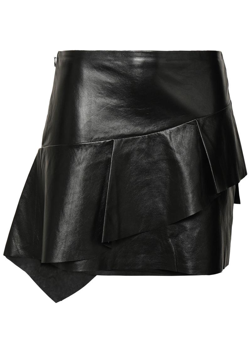 Joie Woman Botan Ruffled Leather Mini Skirt Black