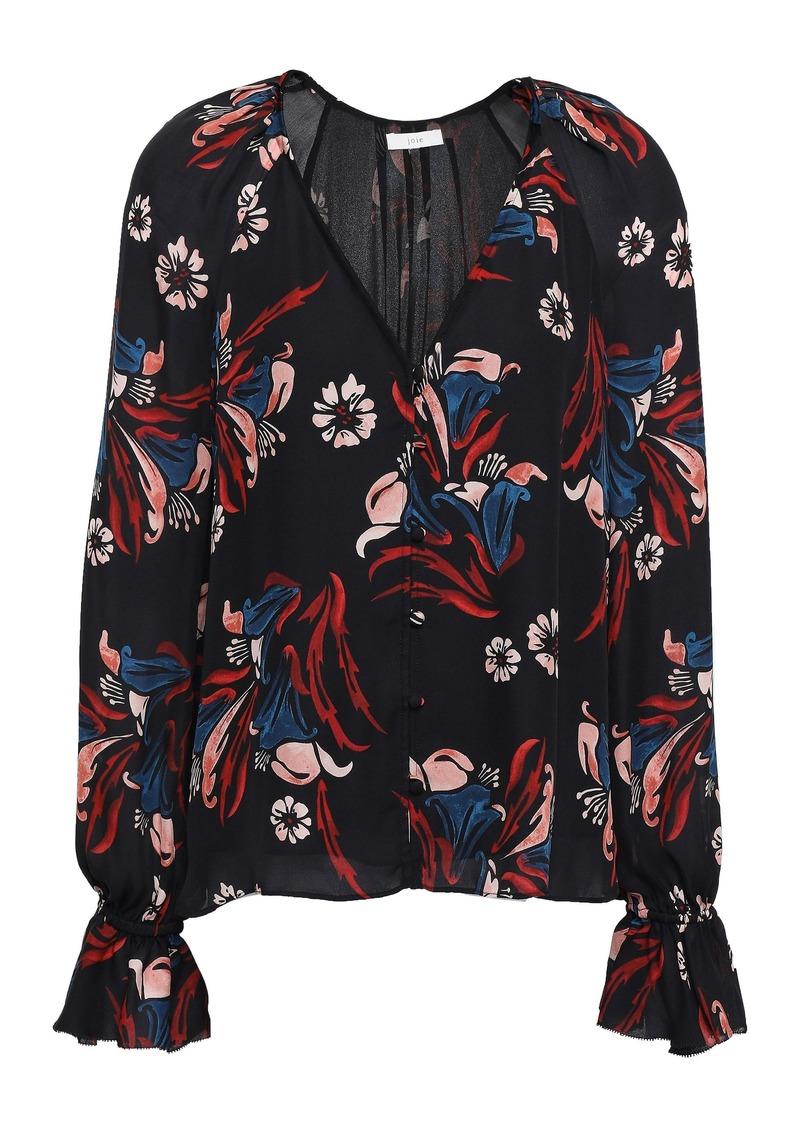 Joie Woman Boyana Floral-print Silk-crepe Blouse Black