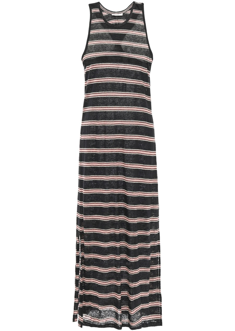 Joie Woman Brellen Twist-back Striped Slub Linen-jersey Midi Dress Black