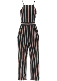 Joie Woman Briselle Tie-back Striped Slub Linen-jersey Jumpsuit Black