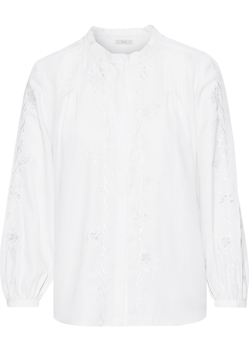 Joie Woman Teda Broderie Anglaise Crepe De Chine Blouse Ivory