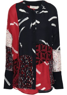 Joie Woman Brunonia Patchwork-effect Printed Silk-chiffon And Crepe De Chine Shirt Black