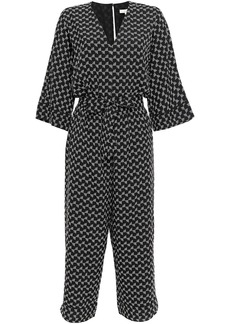 Joie Woman Burgess Cropped Printed Crepe De Chine Jumpsuit Black
