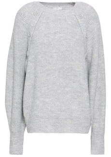 Joie Woman Button-detailed Mélange Knitted Sweater Stone
