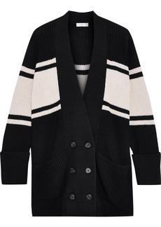 Joie Woman Caleela Striped Cotton And Cashmere-blend Cardigan Black