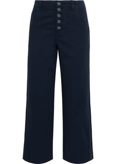 Joie Woman Cassedy Cropped Cotton-blend Twill Straight-leg Pants Navy