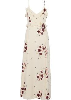Joie Woman Cassiel Floral-print Swiss-dot Crepe De Chine Maxi Slip Dress Cream