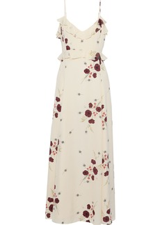 Joie Woman Cassiel Floral-print Swiss-dot Crepe De Chine Maxi Slip Dress Cream