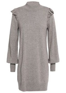 Joie Woman Catriona Ruffle-trimmed Wool And Silk-blend Mini Dress Mushroom