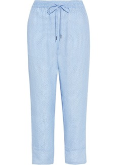 Joie Woman Ceylon Cropped Printed Crepe De Chine Tapered Pants Light Blue