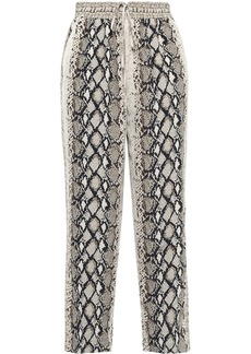 Joie Woman Ceylon Cropped Snake-print Crepe De Chine Straight-leg Pants Animal Print