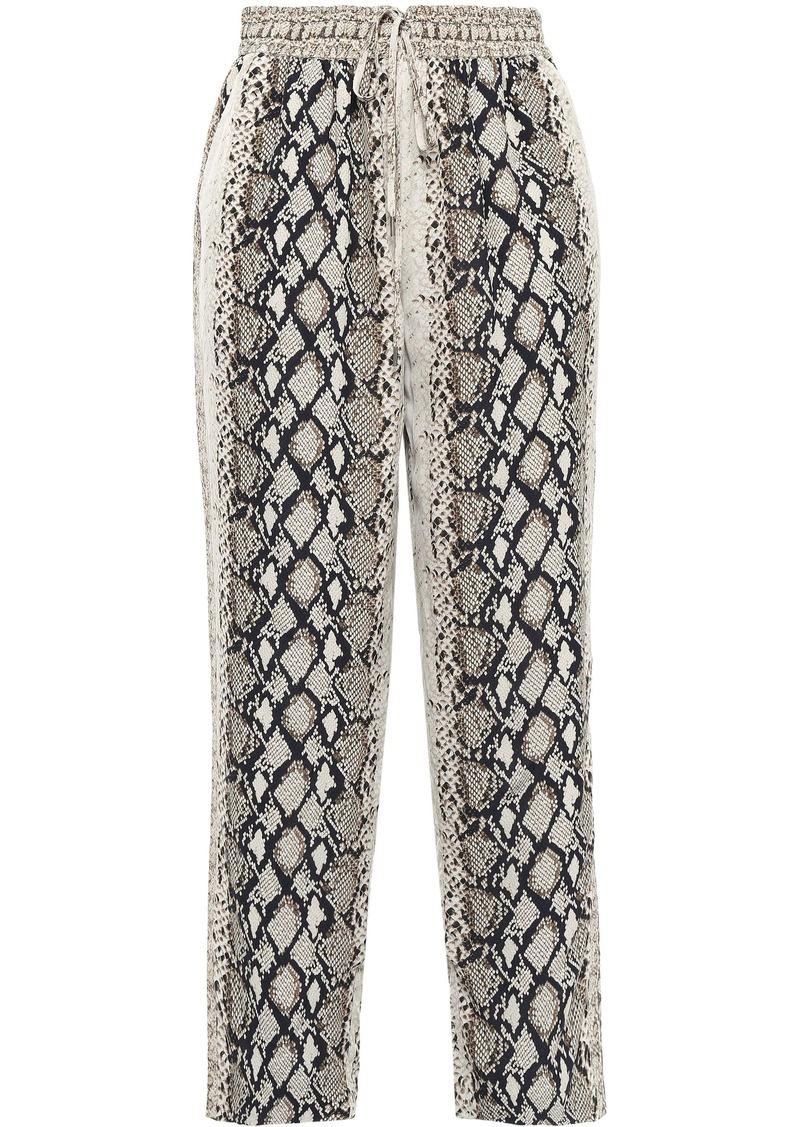 Joie Woman Ceylon Cropped Snake-print Crepe De Chine Straight-leg Pants Animal Print