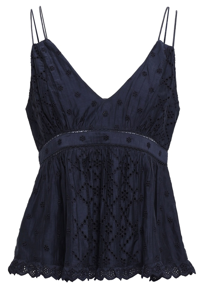 Joie Woman Chani Broderie Anglaise Cotton And Silk-blend Peplum Top Midnight Blue