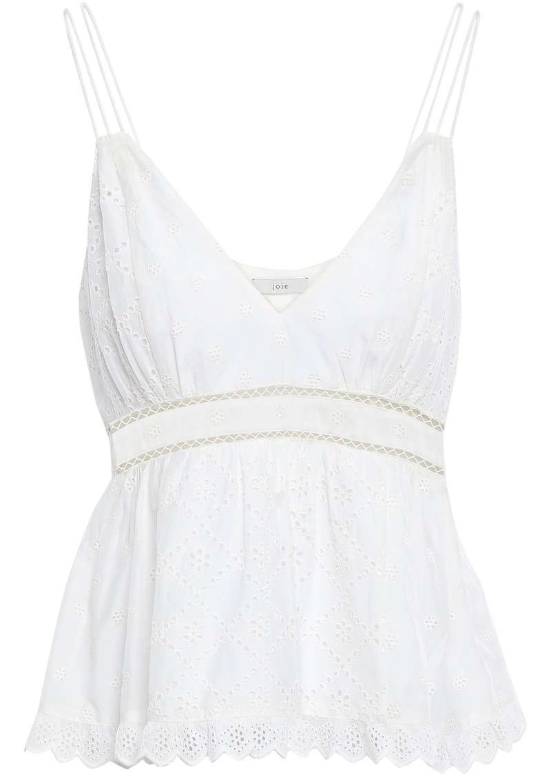 Joie Woman Chani Broderie Anglaise Cotton And Silk-blend Peplum Top White