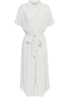 Joie Woman Chellie Tie-front Striped Crepe De Chine Midi Shirt Dress White