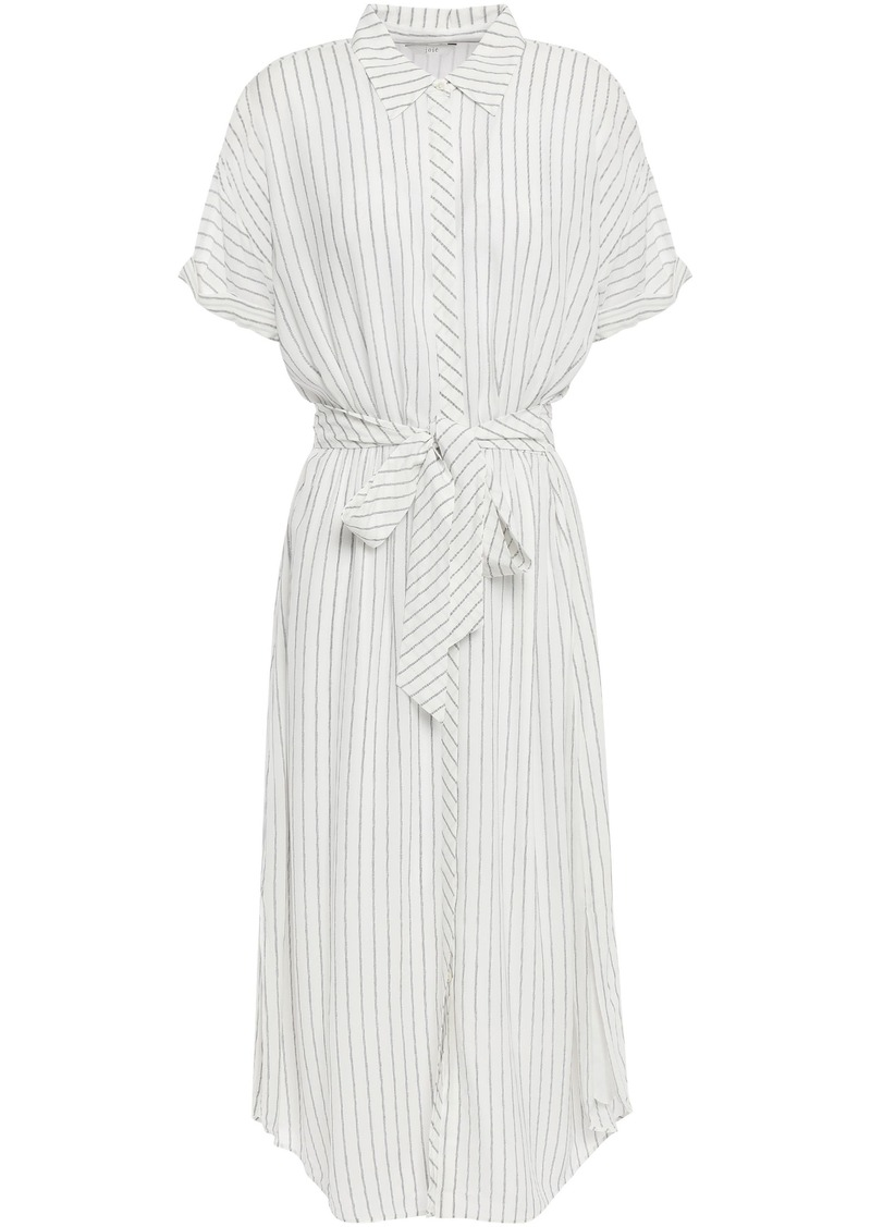 Joie Woman Chellie Tie-front Striped Crepe De Chine Midi Shirt Dress White