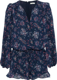 Joie Woman Cherita Ruffle-trimmed Floral-print Silk-chiffon Playsuit Indigo