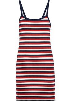 Joie Woman Christine B Striped Ribbed Jersey Mini Dress Red