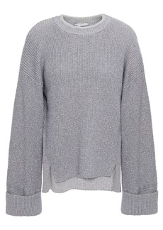 Joie Woman Cicilia Metallic Knitted Sweater Silver