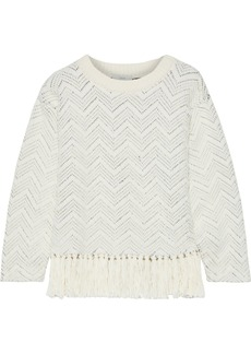 Joie Woman Claudelle Fringed Cotton-blend Jacquard Sweater White