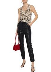 Joie Woman Colman Leopard-print Slub Linen-jersey Tank Animal Print