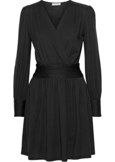 Joie Woman Corelle Wrap-effect Cotton And Modal-blend Mini Dress Black