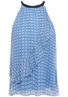 Joie Woman Corisande Ruffled Printed Silk-georgette Top Light Blue