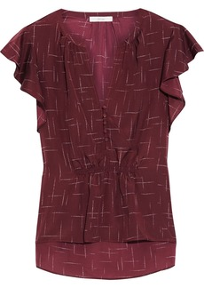 Joie Woman Crisbell Ruffled Printed Crepe De Chine Top Burgundy