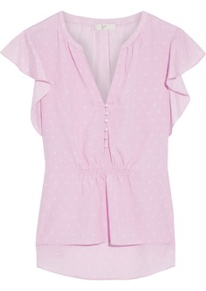 Joie Woman Crisbell Ruffled Printed Crepe De Chine Top Baby Pink