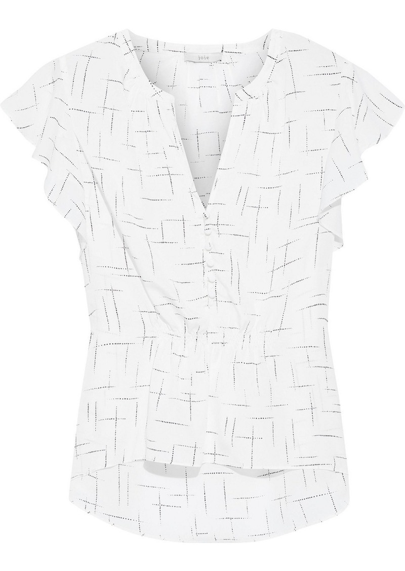 Joie Woman Crisbell Ruffled Printed Crepe De Chine Top White