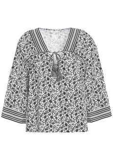 Joie Woman Culveria Floral-print Cotton-poplin Top Gray
