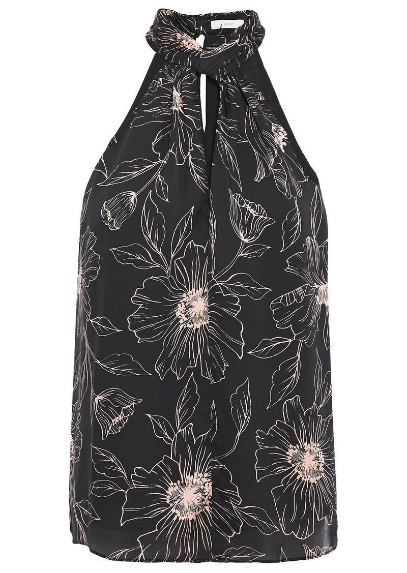 Joie Woman Cutout Floral-print Satin-crepe Top Black