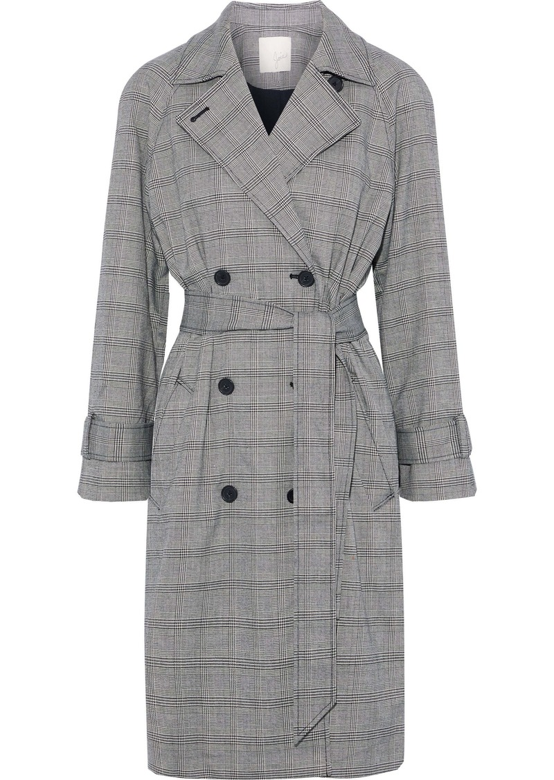 Joie Woman Damonica Prince Of Wales Checked Jacquard Trench Coat Gray