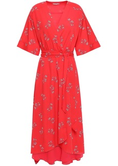 Joie Woman Daymon B Floral-print Crepe De Chine Midi Wrap Dress Tomato Red