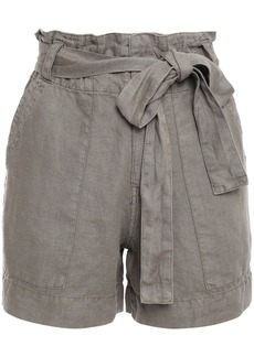 Joie Woman Daynna Belted Linen Shorts Army Green