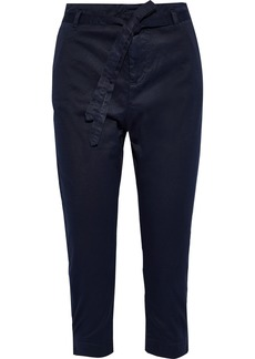 Joie Woman Demarius Cropped Stretch-cotton Twill Slim-leg Pants Midnight Blue
