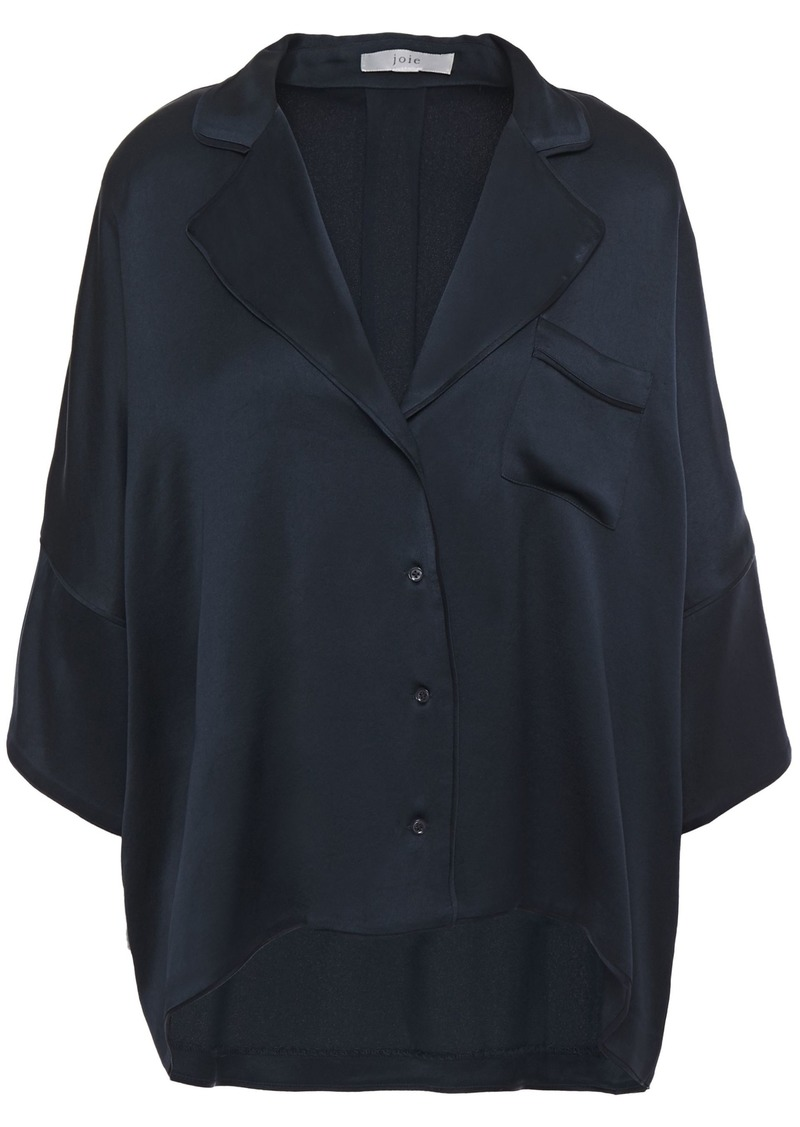 Joie Woman Desmonda Satin-crepe Shirt Navy