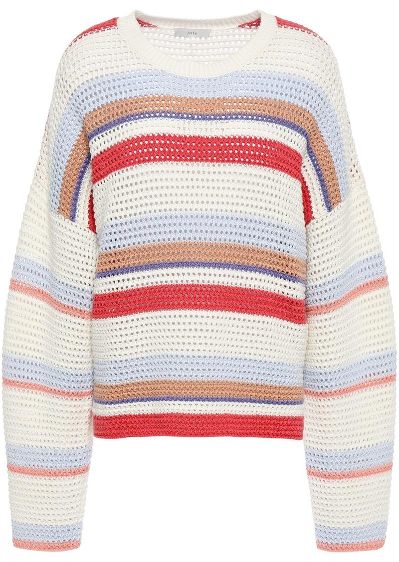 Joie Woman Diza Striped Open-knit Cotton Sweater Off-white