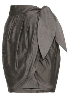Joie Woman Draped Satin Mini Wrap Skirt Army Green