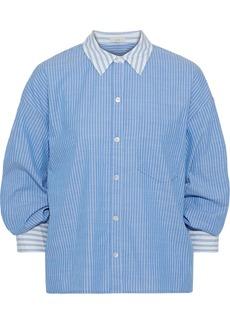 Joie Woman Drusilla Gathered Pinstriped Cotton-broadcloth Shirt Light Blue