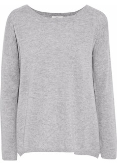 Joie Woman Effie Split-back Wool And Cashmere-blend Sweater Stone