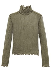 Joie Woman Elmeria Ruffle-trimmed Metallic Ribbed-knit Top Gold