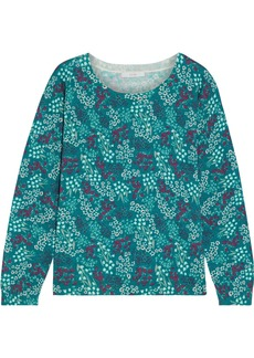 Joie Woman Eloisa Floral-print Cotton And Cashmere-blend Sweater Teal