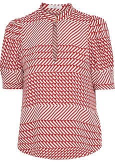 Joie Woman Enida Gathered Printed Crepe Blouse Red