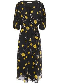 Joie Woman Ervina  Wrap-effect Floral-print Silk-chiffon Midi Dress Black