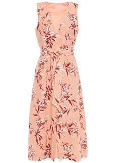 Joie Woman Ethelda Belted Floral-print Linen Midi Dress Peach