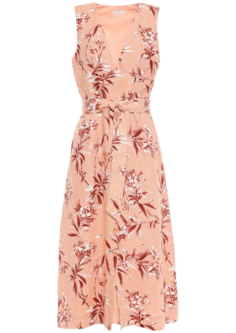 Joie Woman Ethelda Belted Floral-print Linen Midi Dress Peach