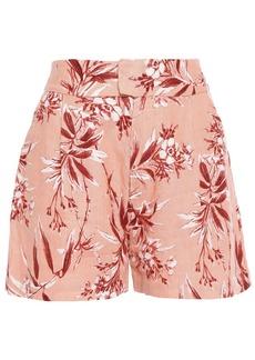 Joie Woman Farron Floral-print Linen Shorts Antique Rose